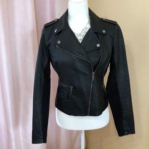 Ny&co faux black leather Moto jacket!! EUC!!